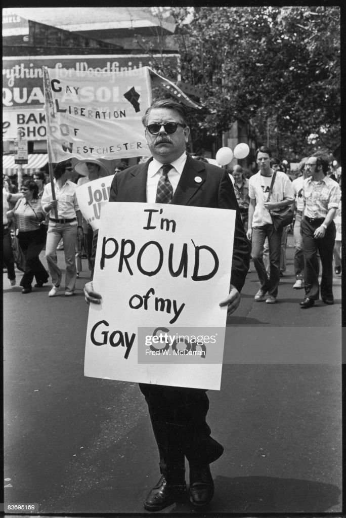 American lawyer Dick Ashworth marches with a sign that reads 'I'm Proud of My Gay Son' in the Fifth Annual Gay Pride Day march (Gay Liberation Day), New York, New York, June 30, 1974. He later became one of the founding members of PFLAG (Parents, Families, and Friends of Lesbians and Gays).