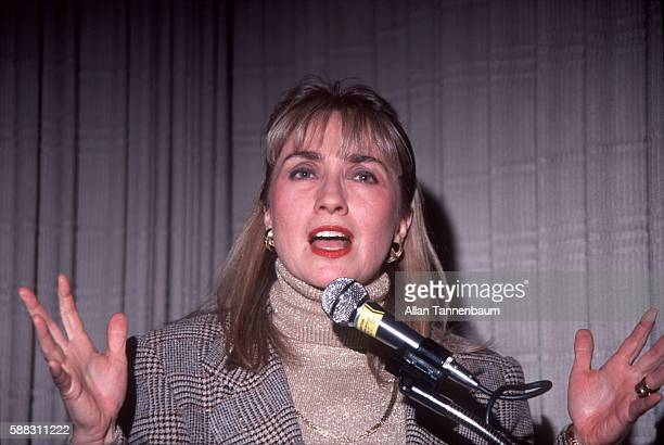 American lawyer Hillary Clinton addresses supporters during a Presidential campaign rally for her husband New York New York January 14 1992