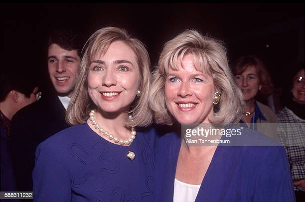 American lawyer Hillary Clinton and Tipper Gore pose together at a campaign event in support of their husbands New York New York October 2 1992