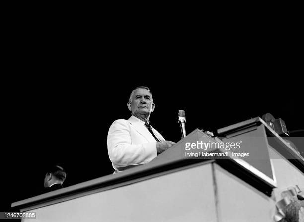 American lawyer, politician from Kentucky and running mate of President Harry S. Truman , Alben William Barkley speaks at the dais during the...