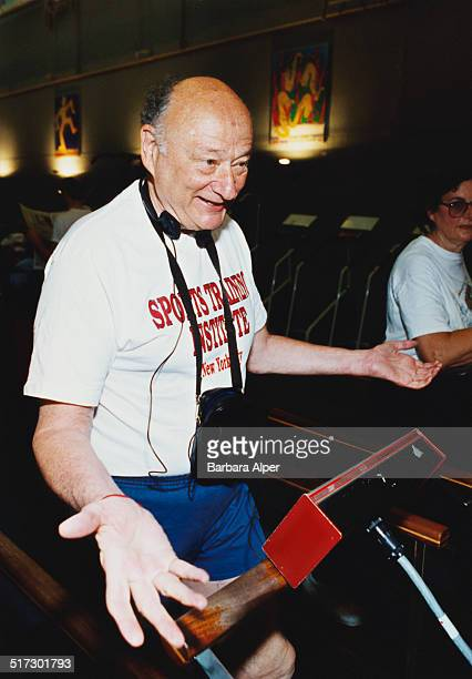 American lawyer politician political commentator and past mayor of New York City Ed Koch exercising at the Sports Training Institute New York City...