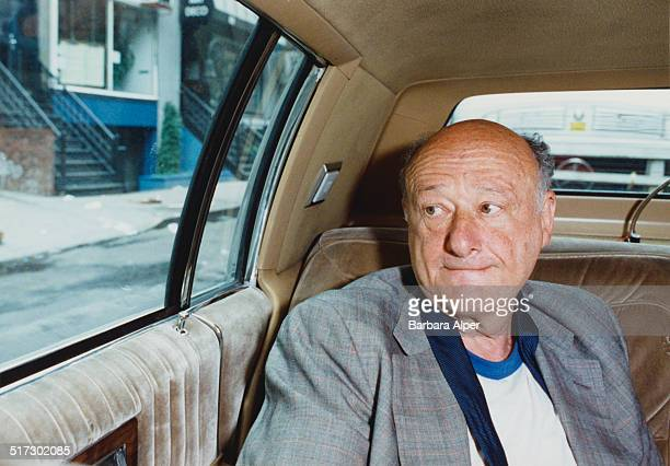 American lawyer politician political commentator and past mayor of New York City Ed Koch on route to the Sports Training Institute for a morning...