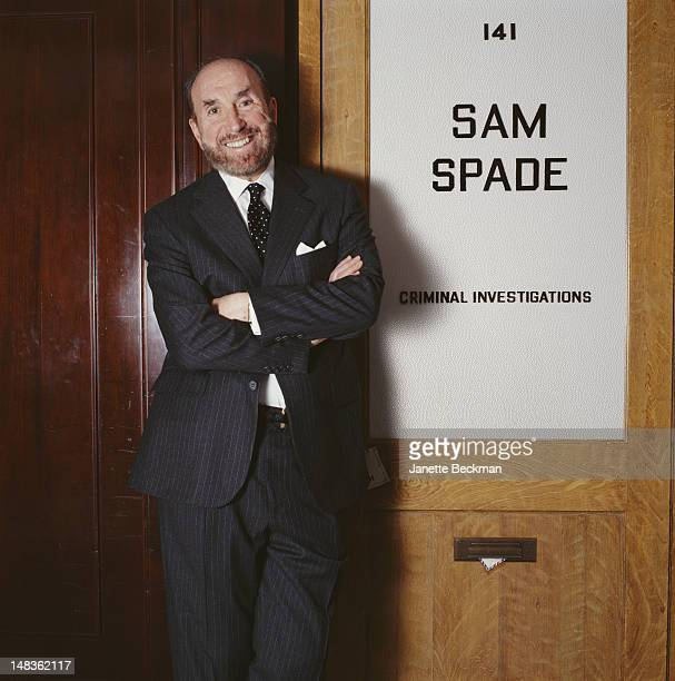 American lawyer Raoul Felder at his office on Madison Avenue New York City 1998 The sign reads 'Sam Spade Criminal investigations' a reference to...