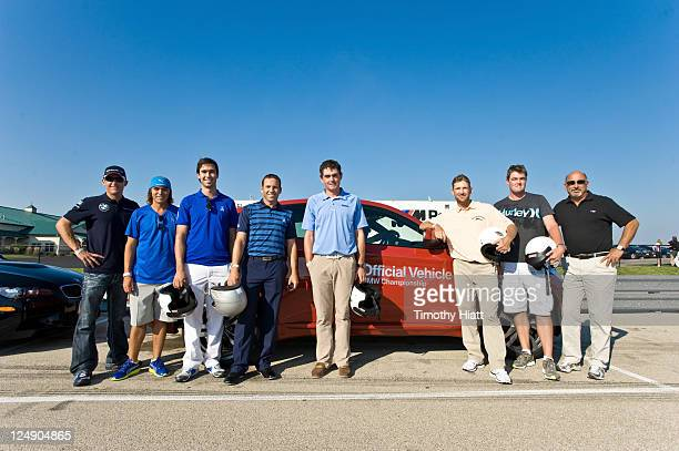 BMW American Le Mans Series race driver Joey Hand and PGA TOUR players Rickie Fowler Cameron Tringale Sergio Garcia Keegan Bradley George McNeil Mark...