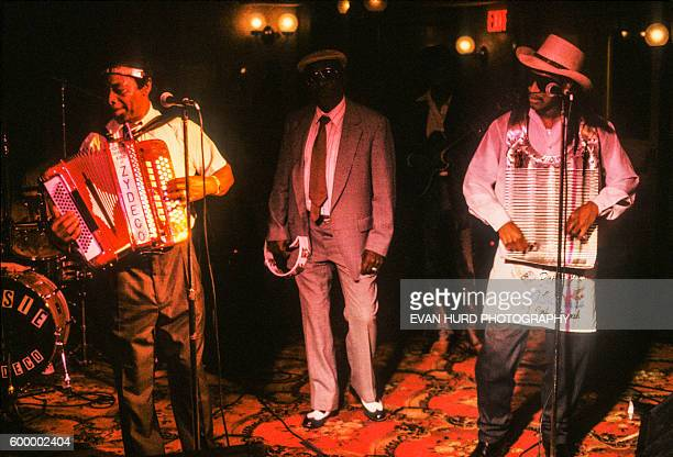 American leading Zydeco musician and accordion player Rockin' Dopsie with son accordionist vocalist and washboard player Rockin Dopsie Jr perform at...