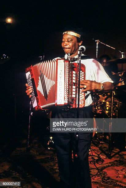 American leading Zydeco musician and accordion player Rockin' Dopsie performs at the New Orleans Jazz & Heritage Festival.