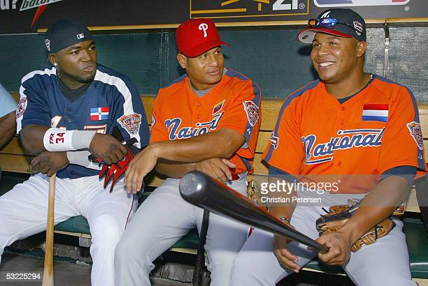 American League All Star David Ortiz of the Boston Red Sox National League AllStars Bobby Abreu of the Philadelphis Phillies and Andruw Jones of the...