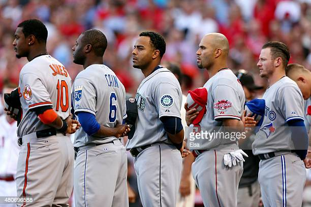 American League AllStar Adam Jones of the Baltimore Orioles American League AllStar Lorenzo Cain of the Kansas City Royals American League AllStar...