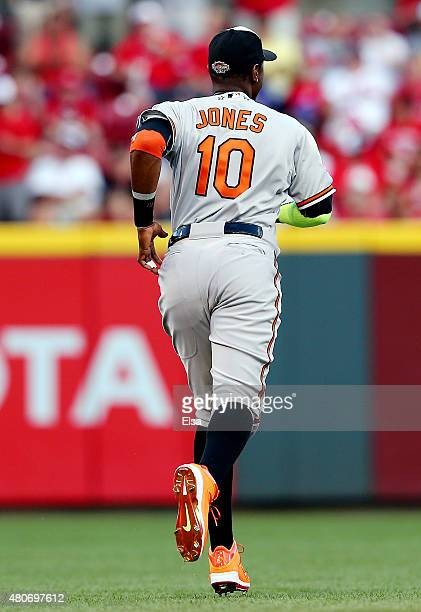 American League AllStar Adam Jones of the Baltimore Orioles warms up prior to the 86th MLB AllStar Game at the Great American Ball Park on July 14...
