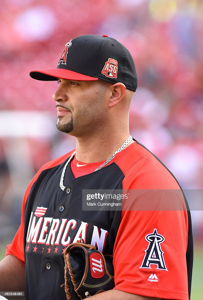 American League All-Star Albert Pujols #5 of the Los Angeles Angels of Anaheim looks on during the Gatorade All-Star Workout Day at Great American Ball Park on July 13, 2015 in Cincinnati, Ohio.