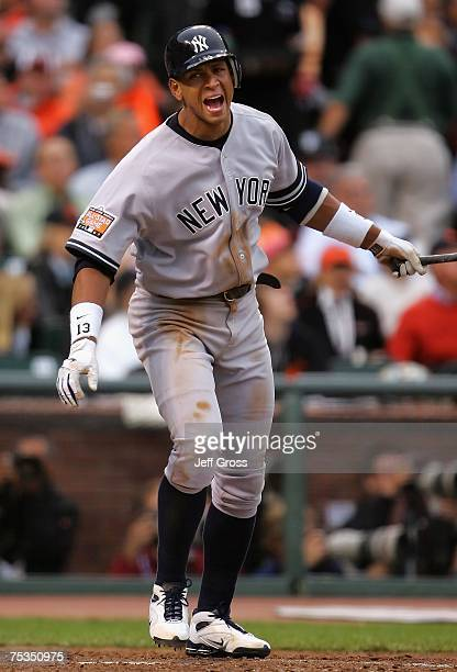 American League AllStar Alex Rodriguez of the New York Yankees reacts after hitting a fly ball out in the 78th Major League Baseball AllStar Game at...