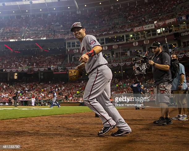 American League AllStar Brian Dozier of the Minnesota Twins smiles while taking the field during the 86th MLB AllStar Game at the Great American Ball...
