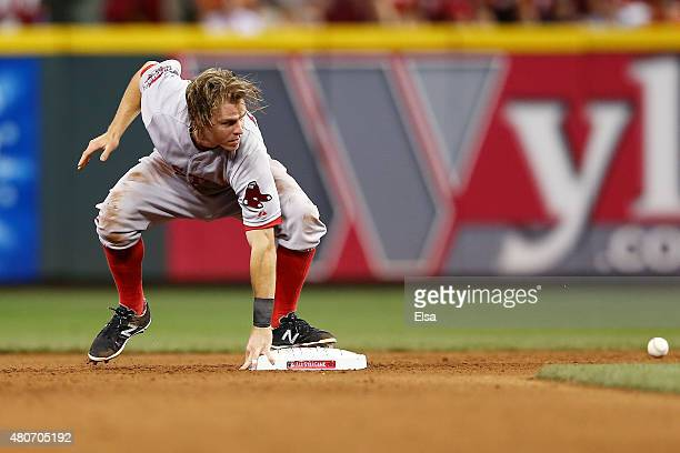 American League AllStar Brock Holt of the Boston Red Sox steals second base in the seventh inning against the National League during the 86th MLB...
