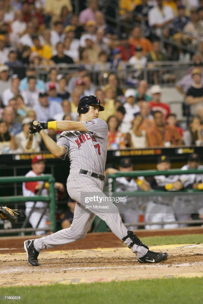 American League All-Star catcher Joe Mauer #7 bats against the National League during the 77th MLB All-Star Game on July 11, 2006 at PNC Park in Pittsburgh, Pennsylvania. The American League won 3-2.