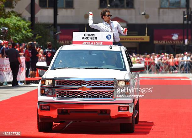 American League AllStar Chris Archer of the Tampa Bay Rays rides in a Chevrolet truck during the Red Carpet Parade prior to the 86th MLB AllStar Game...