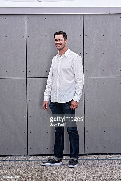 American League AllStar Cole Hamels of the Texas Rangers poses for a portrait as he enters Petco Park following the Red Carpet parade before the 2016...