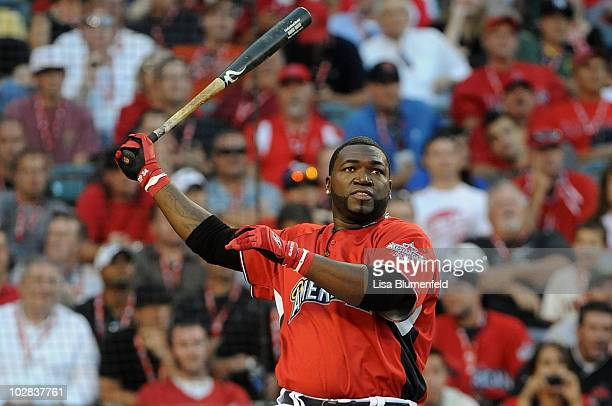 American League AllStar David Ortiz of the Boston Red Sox at bat during the fianl round of the 2010 State Farm Home Run Derby during AllStar Weekend...