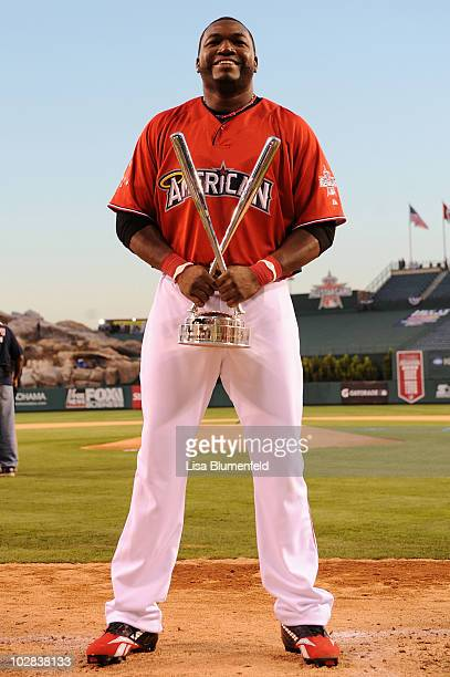 American League AllStar David Ortiz of the Boston Red Sox poses after winning the 2010 State Farm Home Run Derby during AllStar Weekend at Angel...