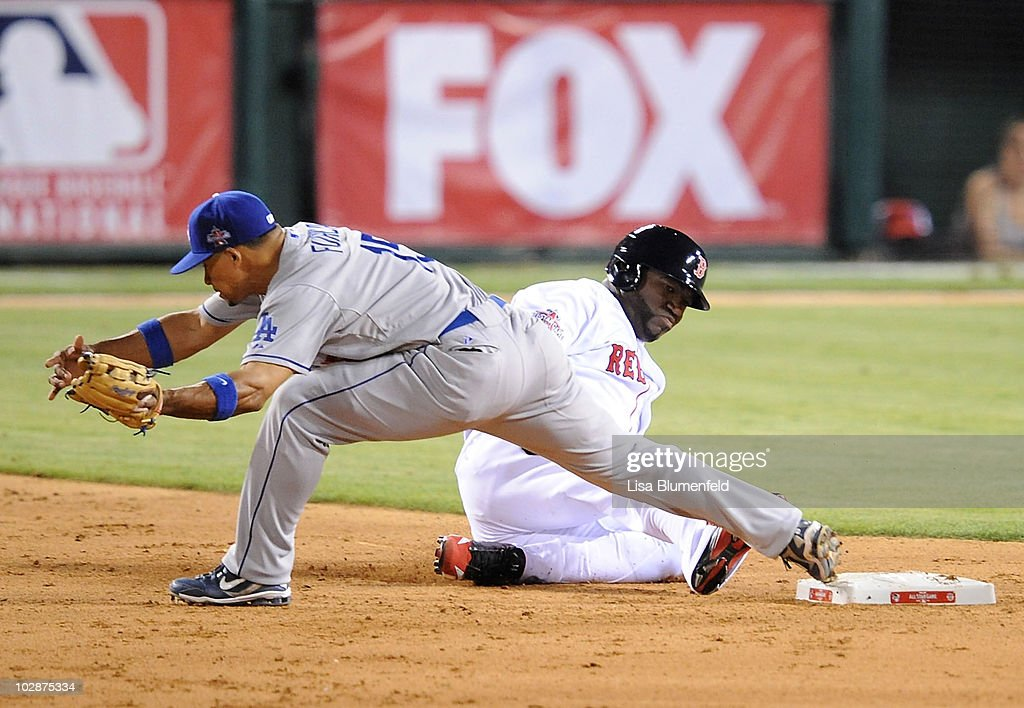 American League All-Star David Ortiz #34 of the Boston Red Sox slides in out at second base on a force out in the bottom of the ninth inning during the 81st MLB All-Star Game at Angel Stadium of Anaheim on July 13, 2010 in Anaheim, California.