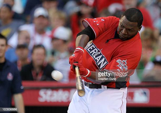 American League All-Star David Ortiz of the Boston Red Sox swings the bat during the first round of the 2010 State Farm Home Run Derby during...