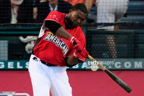 American League AllStar David Ortiz of the Boston Red Sox swings the bat during the second round of the 2010 State Farm Home Run Derby during AllStar...