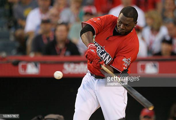 American League All-Star David Ortiz of the Boston Red Sox swings the bat during the final round of the 2010 State Farm Home Run Derby during...