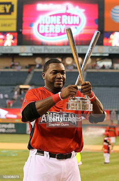 American League AllStar David Ortiz of the Boston Red Sox winner of the 2010 State Farm Home Run Derby during AllStar Weekend at Angel Stadium of...