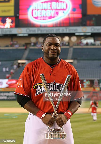 American League All-Star David Ortiz of the Boston Red Sox winner of the 2010 State Farm Home Run Derby during All-Star Weekend at Angel Stadium of...