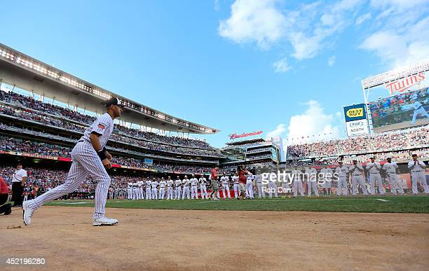 American League AllStar Derek Jeter of the New York Yankees is introduced prior to the 85th MLB AllStar Game at Target Field on July 15 2014 in...