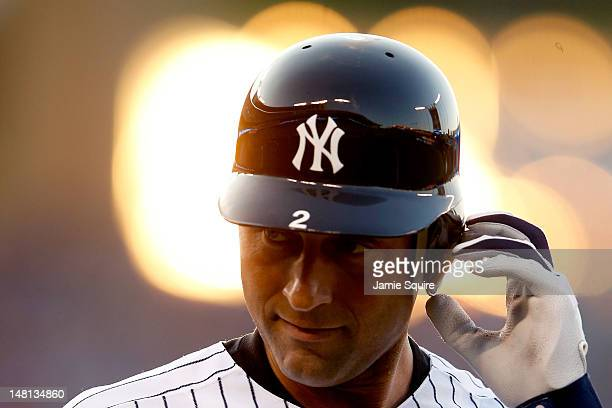 American League All-Star Derek Jeter of the New York Yankees looks on after grounding out to second base in the third inning during the 83rd MLB...