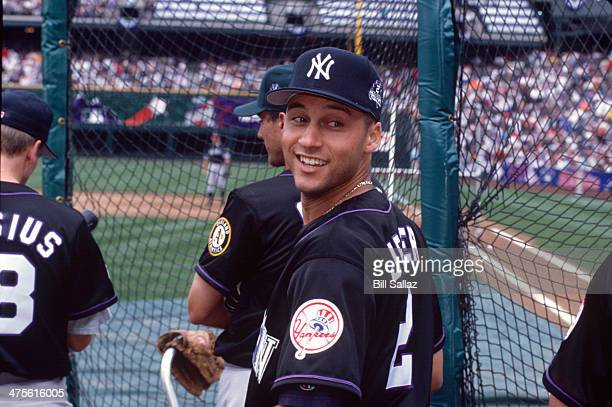 American League All-Star Derek Jeter of the New York Yankees looks on during the 1998 All-Star Game at Coors Field on July 6, 1998 in Denver,...
