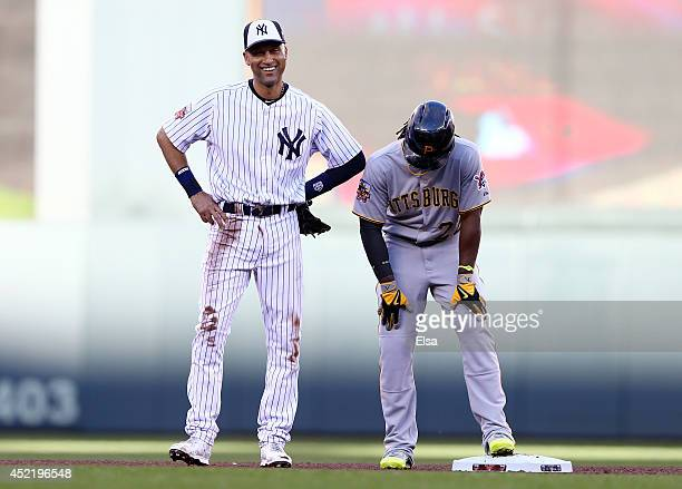 American League AllStar Derek Jeter of the New York Yankees reacts after throwing to first base during the 85th MLB AllStar Game at Target Field on...