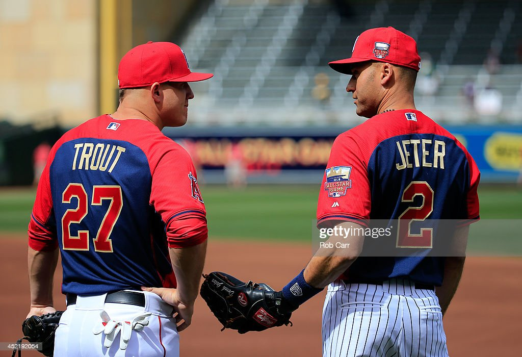 American League All-Star Derek Jeter #2 of the New York Yankees speaks with American League All-Star Mike Trout #27 of the Los Angeles Angels during batting practice prior to the 85th MLB All-Star Game at Target Field on July 15, 2014 in Minneapolis, Minnesota.