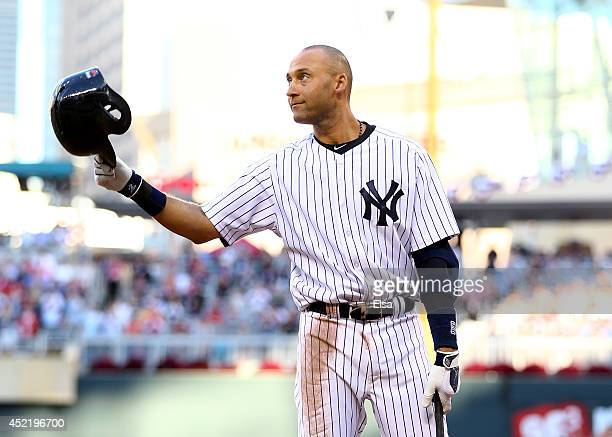 American League AllStar Derek Jeter of the New York Yankees acknowledges the crowd before his first at bat during the 85th MLB AllStar Game at Target...