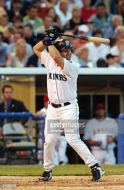 American League AllStar designated hitter Edgar Martinez of the Seattle Mariners waits for the pitch during the 74th Major League Baseball AllStar...