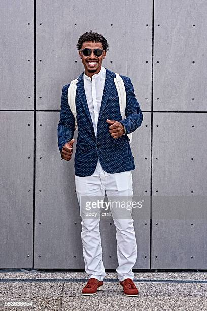 American League AllStar Francisco Lindor of the Cleveland Indians poses for a portrait as he enters Petco Park following the Red Carpet parade before...