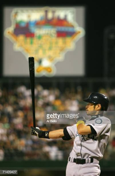 American League All-Star Ichiro Suzuki of the Seattle Mariners gets ready to bat during the 77th MLB All-Star Game at PNC Park on July 11, 2006 in...