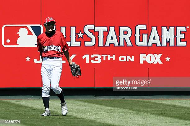 American League AllStar Ichiro Suzuki of the Seattle Mariners looks on from the outfield during Gatorade AllStar Workout Day at Angel Stadium of...