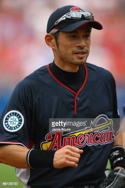 American League AllStar Ichiro Suzuki of the Seattle Mariners looks on before the 2009 MLB AllStar Game at Busch Stadium on July 14 2009 in St Louis...