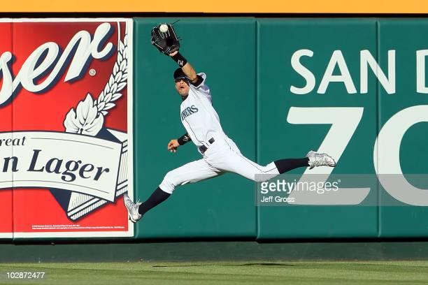American League AllStar Ichiro Suzuki of the Seattle Mariners make s acatch during the 81st MLB AllStar Game at Angel Stadium of Anaheim on July 13...