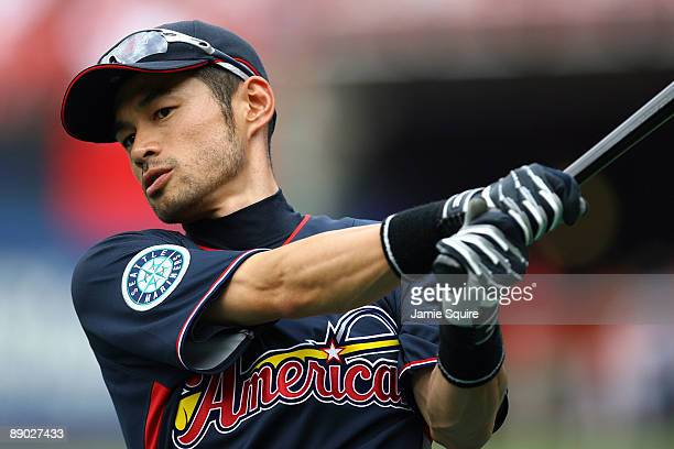 American League AllStar Ichiro Suzuki of the Seattle Mariners warms up before the 2009 MLB AllStar Game at Busch Stadium on July 14 2009 in St Louis...
