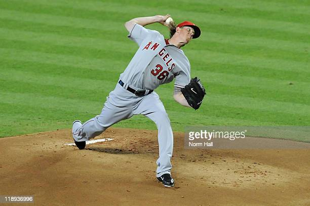 American League AllStar Jered Weaver of the Los Angeles Angels pitches in the first inning of the 82nd MLB AllStar Game at Chase Field on July 12...