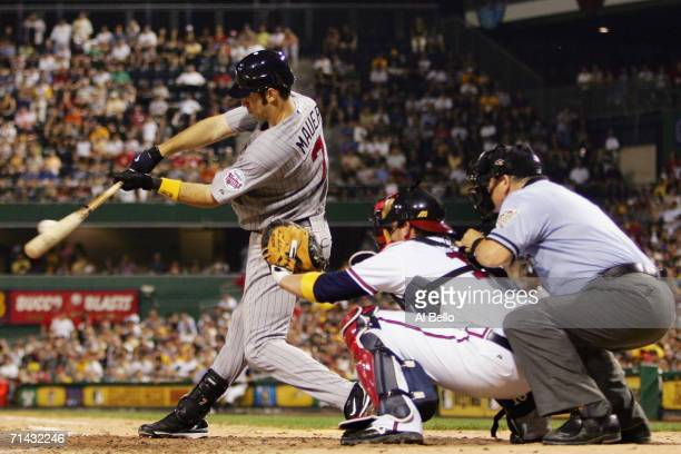 American League AllStar Joe Mauer of Minnesota Twins at bat against the National League during the 77th MLB AllStar Game at PNC Park on July 11 2006...