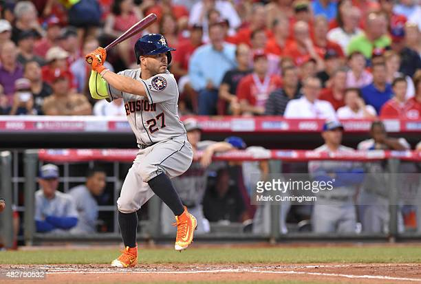 American League AllStar Jose Altuve of the Houston Astros bats during the 86th MLB AllStar Game at Great American Ball Park on July 14 2015 in...
