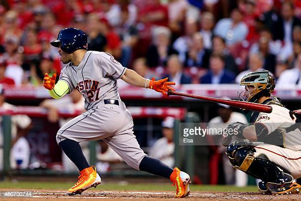 American League AllStar Jose Altuve of the Houston Astros bats in the second inning against National League AllStar Zack Greinke of the Los Angeles...