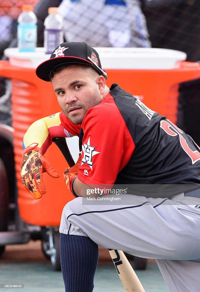 American League All-Star Jose Altuve #27 of the Houston Astros looks on during the Gatorade All-Star Workout Day at Great American Ball Park on July 13, 2015 in Cincinnati, Ohio.