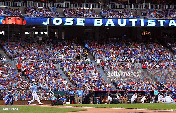 American League AllStar Jose Bautista of the Toronto Blue Jays at bat in the first round during the State Farm Home Run Derby at Kauffman Stadium on...