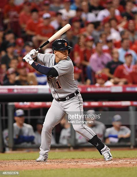 American League AllStar Jose Iglesias of the Detroit Tigers bats during the 86th MLB AllStar Game at Great American Ball Park on July 14 2015 in...