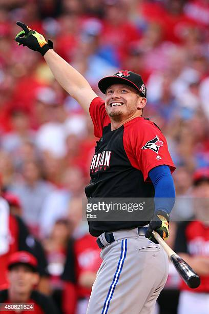 American League AllStar Josh Donaldson of the Toronto Blue Jays points during the Gillette Home Run Derby presented by Head Shoulders at the Great...