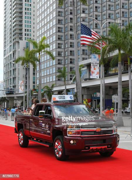 American League AllStar Justin Upton of the Detroit Tigers rides in a Chevy Truck during the Red Carpet Parade prior to the 88th MLB AllStar Game at...